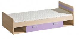 Dětská postel 195x80cm s úložným prostorem Melisa - jasan/fialová