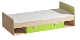 Dětská postel 195x80cm s úložným prostorem Melisa - jasan/zelená