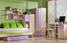 Dětský pokoj Melisa I - jasan/fialová