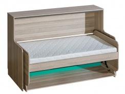 Multifunkční sklápěcí postel Groen - jasan/antracit/zelená