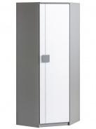 Rohová šatní skříň Loki - bílá/antracit