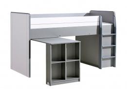 Vyvýšená postel 90x200cm se stolem Loki - bílá/antracit