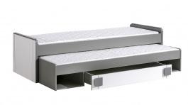 Dětská postel 80x200cm s přistýlkou i úložným prostorem Loki - bílá/antracit