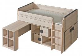 Multifunkční postel 90x200cm se skříňkou Loki - dub santana/popel