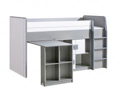 Multifunkční postel 90x200cm se skříňkou Loki - bílá/antracit