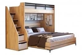 Patrová postel Trendy 90x200cm-180x200cm - dub zlatý/bílá