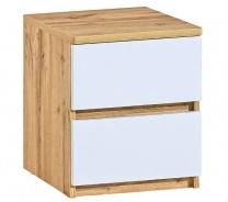 Zásuvkový noční stolek Liana - bílá/dub wotan