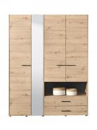 Šatní skříň se zrcadlem Samuel 4D  - dub artisan