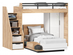 Dětská patrová postel Trendy 90x200cm se skříní - dub zlatý/bílá