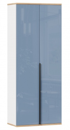Dvoudveřová šatní skříň Trendy - bílá/modrá/dub zlatý