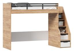 Vyvýšená postel Trendy 90x200cm, levá - dub zlatý/bílá