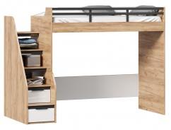 Vyvýšená postel Trendy 90x200cm, pravá - dub zlatý/bílá