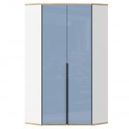 Rohová skříň Trendy - bílá/modrá/dub zlatý