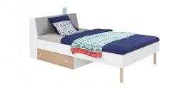 Dětská postel Rasmus 120x200cm - bílá/šedá/dub artisan