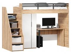 Vyvýšená postel Trendy 90x200cm se stolem a skříní - dub zlatý/bílá