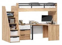 Vyvýšená postel Trendy 90x200cm s rohovým stolem a komodou - dub zlatý/bílá