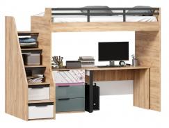 Vyvýšená postel Trendy 90x200cm se stolem a komodou - dub zlatý/bílá/šedomodrá/růžová