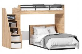 Patrová postel Trendy 90x200cm-120x200cm - dub zlatý/bílá