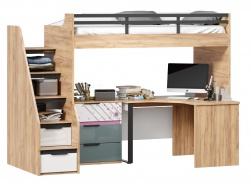 Vyvýšená postel Trendy 90x200cm s rohovým stolem a komodou - dub zlatý/bílá/šedomodrá/růžová