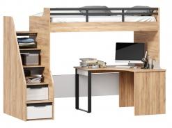 Vyvýšená postel Trendy 90x200cm s rohovým stolem - dub zlatý/bílá