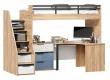 Vyvýšená postel Trendy 90x200cm s rohovým stolem a komodou - dub zlatý/bílá/modrá