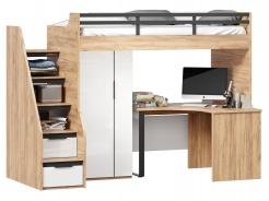 Vyvýšená postel Trendy 90x200cm s rohovým stolem a skříní - dub zlatý/bílá