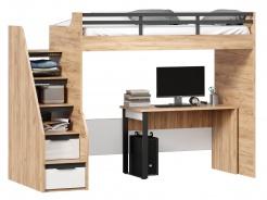 Vyvýšená postel Trendy 90x200cm se stolem - dub zlatý/bílá