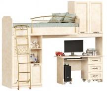 Patrová postel 80x190cm s rovným stolem Sofia - béžová/lento