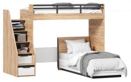 Dětská patrová postel Trendy 90x200cm - dub zlatý/bílá