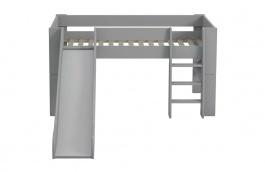 Dětská vyvýšená postel se skluzavkou Dany 90x200 - tmavě šedá