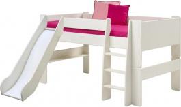Dětská vyvýšená postel se skluzavkou Dany 90x200cm - čistě bílá