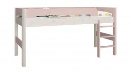 Vyvýšená postel Eveline 90x200cm - bílý masiv/růžová