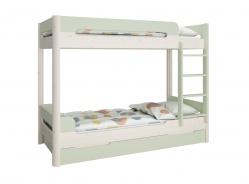 Patrová postel s přistýlkou Eveline 90x200cm - bílý masiv/zelená