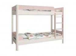 Patrová postel Eveline 90x200cm - bílý masiv/růžová