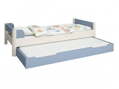 Dětská postel s přistýlkou Eveline 90x200cm - bílý masiv/modrá