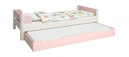Dětská postel s přistýlkou Eveline 90x200cm - bílý masiv/růžová