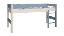 Vyvýšená postel Eveline 90x200cm - bílý masiv/modrá