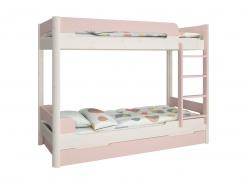 Patrová postel s přistýlkou Eveline 90x200cm - bílý masiv/růžová