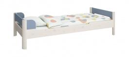 Dětská postel Eveline 90x200cm - bílý masiv/modrá