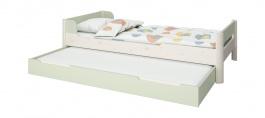 Dětská postel s přistýkou Eveline 90x200cm - bílý masiv/zelená