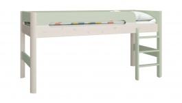 Vyvýšená postel Eveline 90x200cm - bílý masiv/zelená