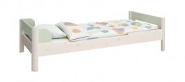 Dětská postel Eveline 90x200cm - bílý masiv/zelená