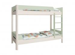 Patrová postel Eveline 90x200cm - bílý masiv/zelená