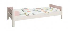 Dětská postel Eveline 90x200cm - bílý masiv/růžová