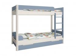 Patrová postel s přistýlkou Eveline 90x200cm - bílý masiv/modrá