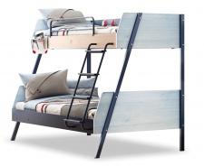 Patrová postel s rozšířeným spodním lůžkem Lincoln - dub/dub modrý/tmavě modrá