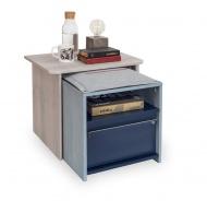 Noční stolek 2v1 Lincoln - dub/dub modrý/tmavě modrá