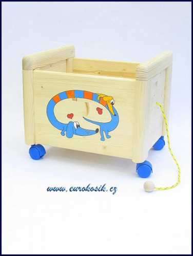 Dřevěný box na hračky Box na hračky Jezevčík