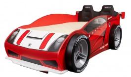 Postel Auto Racer 80x160 se 4 koly a čelem - červená