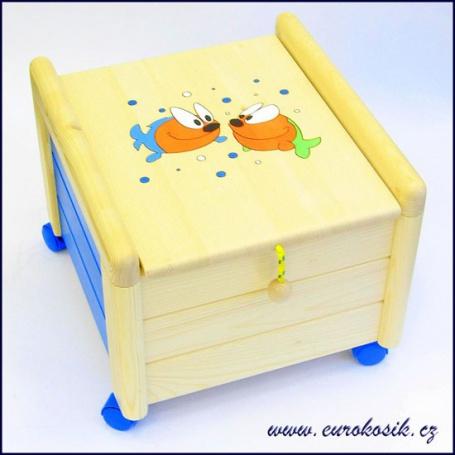 Dřevěný box na hračky s víkem Rybky